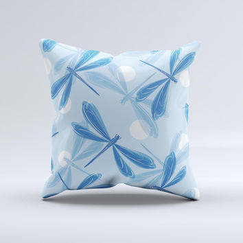 Blue DragonFly  Ink-Fuzed Decorative Throw Pillow