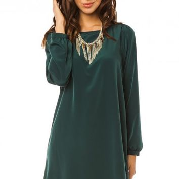 MIDDLEWAY SHIFT DRESS IN HUNTER GREEN