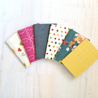 Notebooks: 6 Tiny Journals, Small Notebooks, Pink, Polka Dot, Grey, Yellow, For Her, Gift, Unique, Mini Journals, Party Favors, Wedding T126