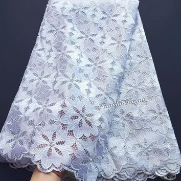 High Quality big floral Real White french lace Guipure solid embroidery African tulle fabric Soft Skin Healthy 5 yards per piece