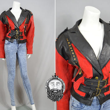 Vintage 80s Black and Red Leather and Suede Jacket Fitted Biker Jacket Gold Stars Womens Leather Jacket Michael Jackson Military Style 1980s