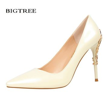 BIGTREE New Spring Summer Elegant Pumps European Fashion Sexy High Heels Metal Flower Heel Mirror Leather Female Shoes G9219-7