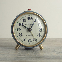 Gray Mechanical Alarm Clock Corsar - Soviet vintage - home decor - manual winding - made in USSR.