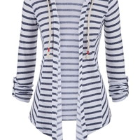 Striped Open Front Cardigan With Hood And Rope Ties
