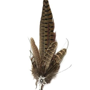 Deluxe German themed Hat Pin w/ Brown colored Feathers