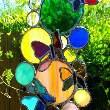 Butterfly Suncatcher Colorful Bubbles Circles Stained Glass Gift for Mom Housewarming Home Decor Boho Garden Decoration Custom 3D Glass Art