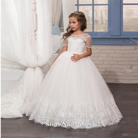 2017 White Short Sleeve Cute Lace  Flower Girl Dress for WeddingsTulle with Applique Ball Gown First Communion Dresses