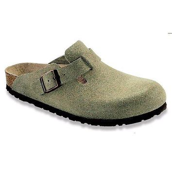 Boston Clog in Taupe Suede with Soft Footbed by Birkenstock