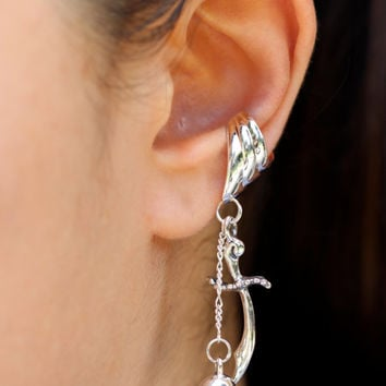 Skull Ear Cuff Silver - Skull and Scimitar Ear Cuff - Skull Earring Dagger Earring Sword Earring - Pirate Ear Cuff - Non-Pierced Earring