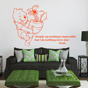 Wall Decals Vinyl Decal Winnie the Pooh Quote I Do Nothing Every Day ... Cartoon Home Vinyl Decal Sticker Kids Nursery Baby Room Decor kk88
