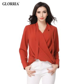 Women Ruched Ties Plus Size Blouses Spring Summer Style Chiffon Thin Tops Female Fashion V-Neck Long Sleeve Brown Shirts