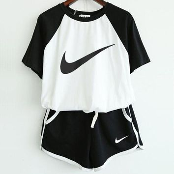 NIKE Summer Spring Stylish Women Print Short Sleeve Sport Gym Sweatpants Set Two-Piece Sportswear I
