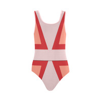 Shades of Red Patchwork Vest One Piece Swimsuit (Model S04) | ID: D2757430