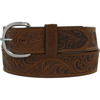 Leegin Ladies 1 1/2in Brown Western Scroll Belt