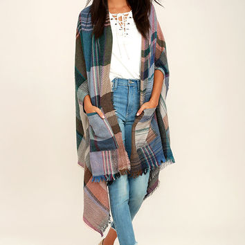 Windy Day Blue Plaid Poncho