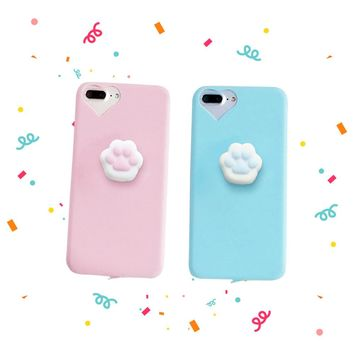 Special Free Promo - 3D Cartoon Cute Squishy Cat Claw Case for iPhone 6 6S 7 Plus Funny Pressure Release Soft Squishi Squeeze Cats Phone Cases