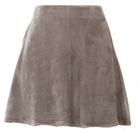 Autumn Outting Ultra Suede Swing Skirt - Olive
