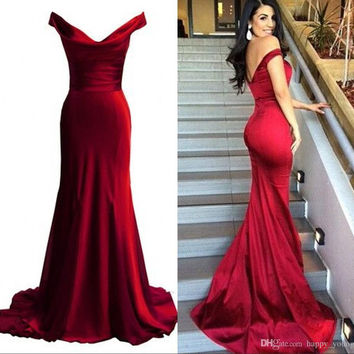 Off Shoulder Red Satin Mermaid Prom Dresses,Prom Dress