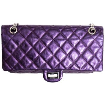 Chanel Purple Metallic Reissue 225 Double Flap with Silver Hardware