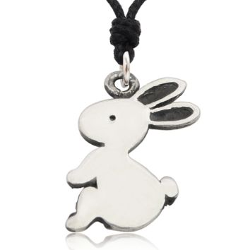 Handmade Rabbit Bunny Silver Pewter Charm Necklace Pendant Jewelry