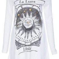 "ROMWE | ""Le Soleil"" Printed White T-shirt, The Latest Street Fashion"