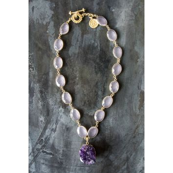 Regina Andrew Posy Pink Calcy Necklace with Amethyst Druzy