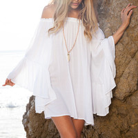 BEACH LONG SLEEVE WORD SHOULDER DRESS