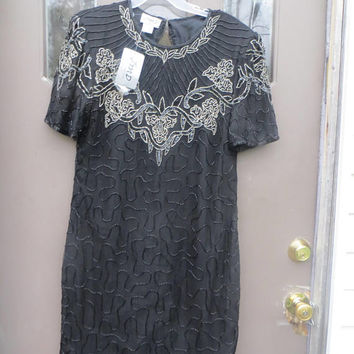 1980s JMD New York black   silk beaded sequin cocktail dress new w tag  sz xlarge