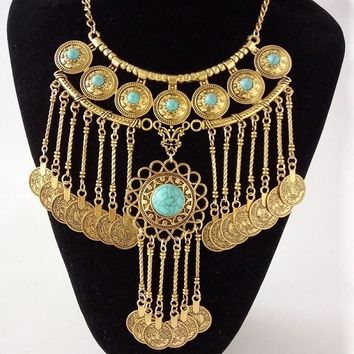 Oceans Coin Long Turquoise Blue on Gold Chain Necklace | Khadijah Collection