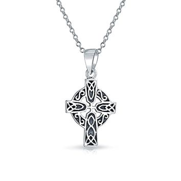 Celtic Trinity Cross Knot Pendant Sterling Silver Necklace Chain 1 57
