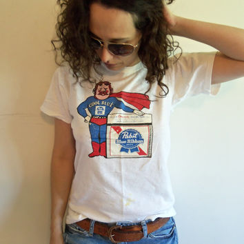 Vintage 70s Distressed Cool Blue Pabst Blue Ribbon Mr Roberts Juice House Hipster T Shirt