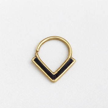 Statement Septum Ring, Gold Septum 16g, Edgy Septum Piercing, Gold Piercings, Contemporary Piercing, Statement Piercing,
