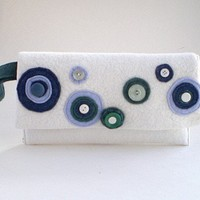 felted wool, clutch purse, white, blue, wristlet, clutch, dots, circles, vintage buttons