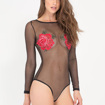 Flower Arrangement Mesh Bodysuit