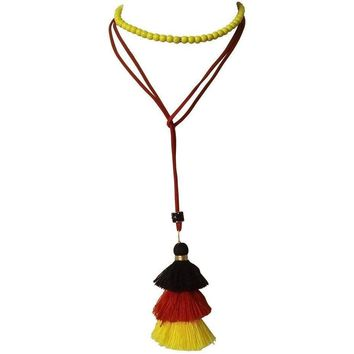 Yellow Choker Necklace - Long Tassel Necklace