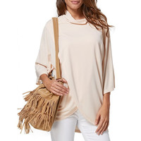 Brief Style Turtleneck Loose-Fitting Women Wrap T-Shirt
