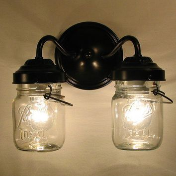 Vintage CLEAR Canning Jar DOUBLE Sconce by LampGoods on Etsy
