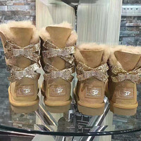 UGG Hot style wool queen diamond bow ultra female beauty with thick warm ugg boots two style Camel