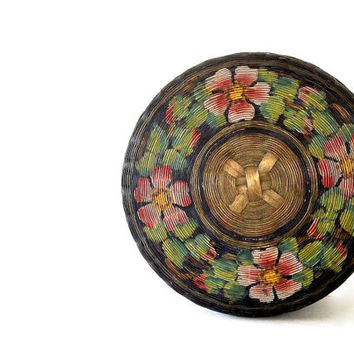 Vintage Sewing Basket, covered w lid, hand painted round woven wicker Boho storage floral flowers pink green Mid Century basket container