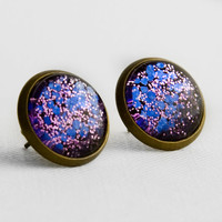 Grape Purple Glitter Post Earrings in Antique Bronze - Purple and Ultra Violet Small and Hexagonal Glitter Stud Earrings