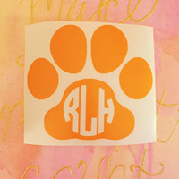 Paw Print Monogram Decal - Paw Print Decal - Monogram Decal - Dog Decal - Mascot Decal - Preppy Decal - Laptop Decal - Car Decal - Dog Lover