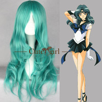 Dark Green Sailor Moon Sailor Neptune Curl Long Anime Cosplay Wig Hair Wig Made to Order