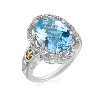 Blue Topaz & Floral Pave Set Diamond Bordered Ring in Silver + Gold