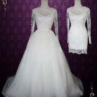 Convertible Lace Wedding Dress with Open Back and Long Sleeves