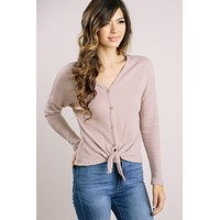 Cassie Taupe Waffle Knit Button Sweater