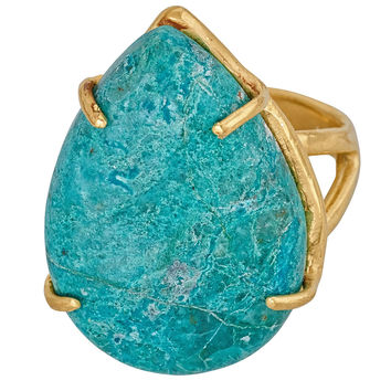 Chrysocolla Prong Ring
