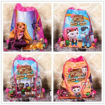 12Pcs Sheriff Callie Wild West Cartoon Kids Drawstring Printed Backpack Shopping School Traveling Party Bags Birthday Gifts