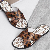 FENDI Summer Fashion Women Casual Simple F Letter Print Flat Slipper Sandals Shoes Coffee