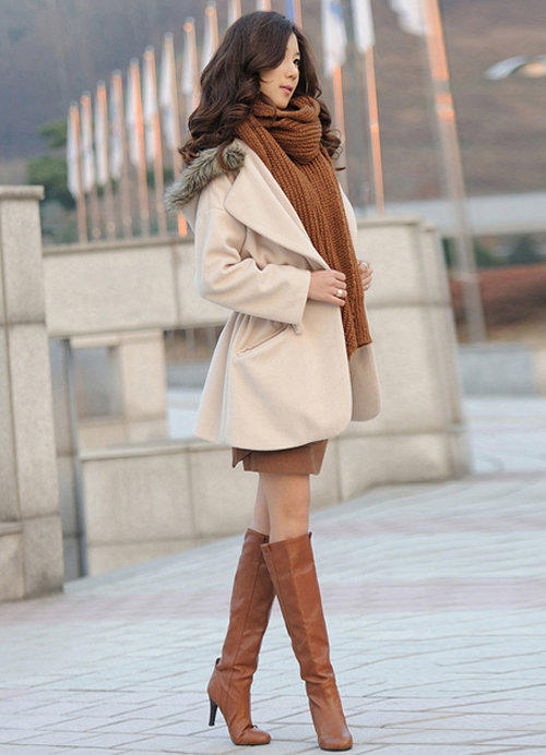 Showing Waist Hot Sale Ladies Coats Apricot : Wholesaleclothing4u.com