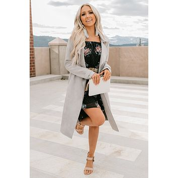 Chic Intuition Faux Suede Coat (Grey)